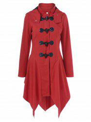 Hooded Horn Button Asymmetrical Coat -