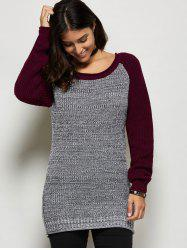 Raglan Sleeve Color Block Longline Sweater - GRAY AND RED ONE SIZE