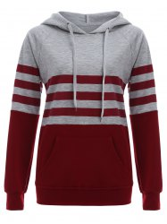 Raglan Sleeve Pocket Striped Hoodie - RED L