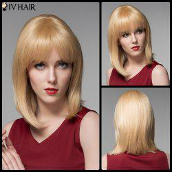 Siv Hair Exquisite Medium Side Bang Straight Real Natural Hair Wig -