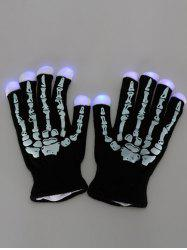 Halloween Party Prop Supplies LED Skull Fingertip Lighting Gloves