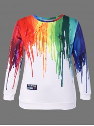 3D Paint Print Plus Size Sweatshirt -