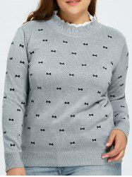 Plus Size Bowknot Pullover Sweater -