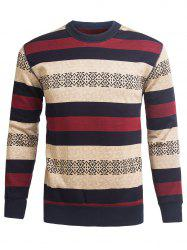 Crew Neck Stripe and Graphic Knitting Sweater -