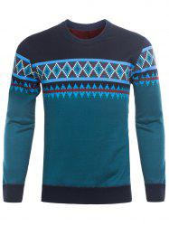 Crew Neck Ethnic Style Graphic Knitting Sweater - BLACKISH GREEN 3XL