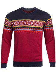 Crew Neck Ethnic Style Graphic Knitting Sweater