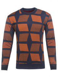 Crew Neck Color Block Geometric Knitting Sweater