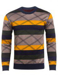 Crew Neck Reticular Striped Color Block Knitting Sweater -