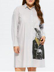 Plus Size Owl Print Shirt Dress