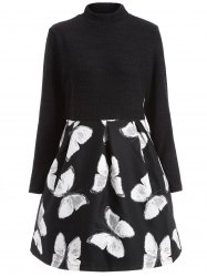Plus Size Mock Collar Fit and Flare Dress