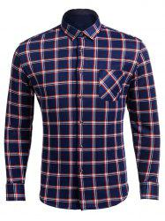 Flocking Turndown Collar Checked Pocket Shirt