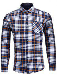 Flocking Turndown Collar Tartan Pocket Shirt