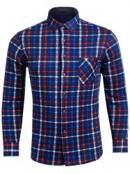 Flocking Turndown Collar Color Block Plaid Pattern Pocket Shirt - BLUE 4XL