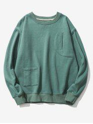 Flocking Pockets Design Graphic Print Drop Shoulder Sweatshirt -