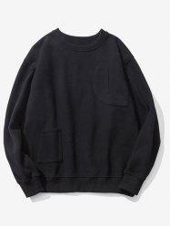 Flocking Pockets Design Graphic Print Drop Shoulder Sweatshirt