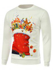 Cartoon Printed Crew Neck Christmas Sweatshirt - WHITE 3XL