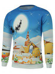 Cartoon Print Crew Neck Christmas Sweatshirt
