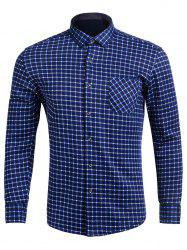 Turndown Collar Long Sleeve Pocket Checked Shirt