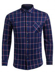 Long Sleeve Turndown Collar Pocket Checked Shirt