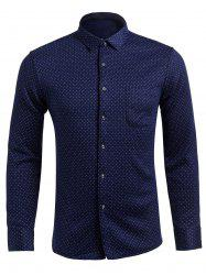 Long Sleeve Pocket Design Polka Dot Shirt -