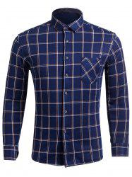 Long Sleeve Checked Shirt with Pocket -