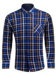 Turndown Collar Flocking Checked Pocket Shirt
