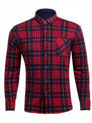 Turndown Collar Flocking Plaid Pocket Shirt