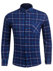 Flocking Long Sleeve Plaid Pocket Shirt