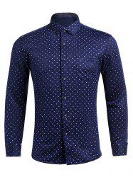 Long Sleeve Flocking Polka Dot Pocket Shirt -