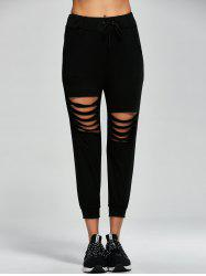 Destroyed Drawstring Capri Sports Pants - BLACK