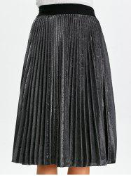 Shiny Metallic Midi Pleated Skirt