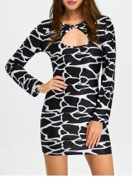 Leopard Cut Out Long Sleeve Bodycon Dress