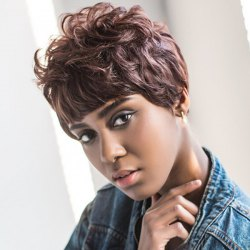 Short Full Bang Curly Capless Synthetic Wig