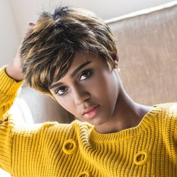 Short Side Bang Color Mixed Straight Capless Synthetic Wig - COLORMIX