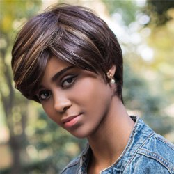 Color Mixed Short Side Bang Straight Capless Synthetic Wig - COLORMIX