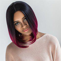 Medium Middle Part Ombre Color Straight Capless Synthetic Wig -