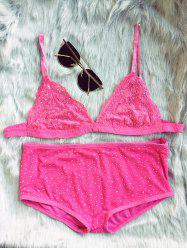 High Waisted Hot Fix Rhinestone Bra Set