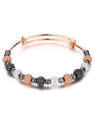 Adjustable Dull Polished Beads Bracelet - GUN METAL