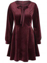 Vintage Bowktie Velvet Skater Dress with Sleeves