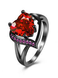 Rhinestone Heart Shape Ring - RED