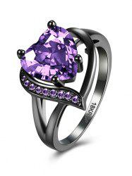Rhinestone Heart Shape Ring - PURPLE