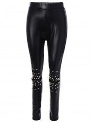 Beading PU Leather Leggings