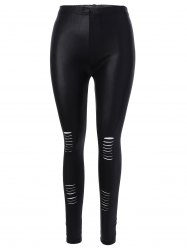 Ankle Length Ripped Leggings - BLACK