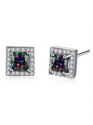 Rhinestoned Geometric Stud Earrings