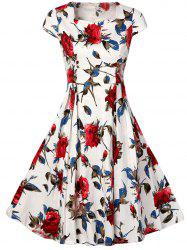 Vintage Rose Print High Waist A Line Dress - WHITE S
