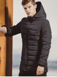 Rib Cuff Zip Up Hooded Padded Coat