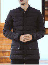 Stand Collar Zippered Pocket Padded Coat -