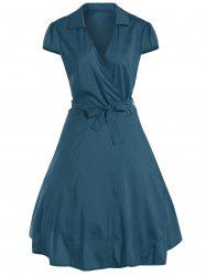 V Neck Tied Belt Surplice Skater Dress