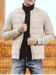 Collarless Rib Trim Zip Up Padded Jacket -
