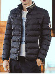 Embroidered Patch Snap Front Padded Jacket